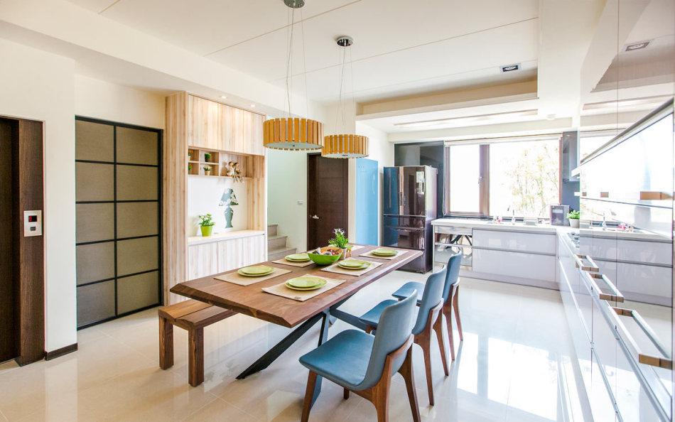 乡村风格餐厨空间效果图
