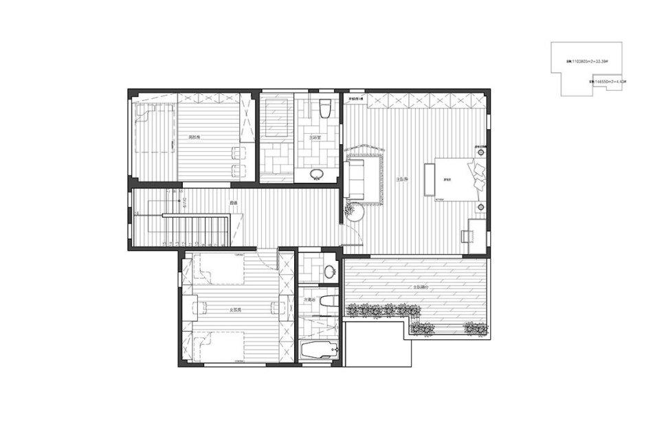 乡村风格二楼平面图效果图