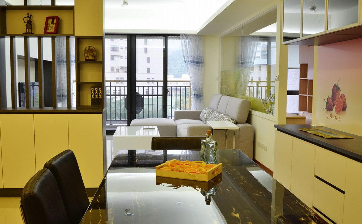 现代风格餐厅望向客厅装修效果图