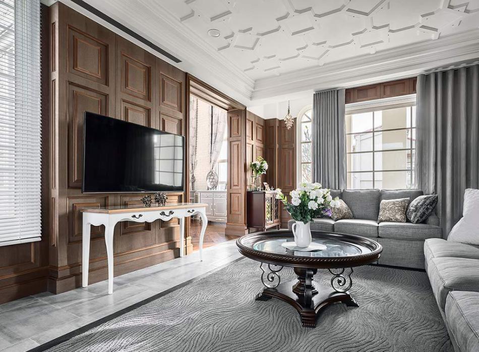 美式风格电视墙设计图片