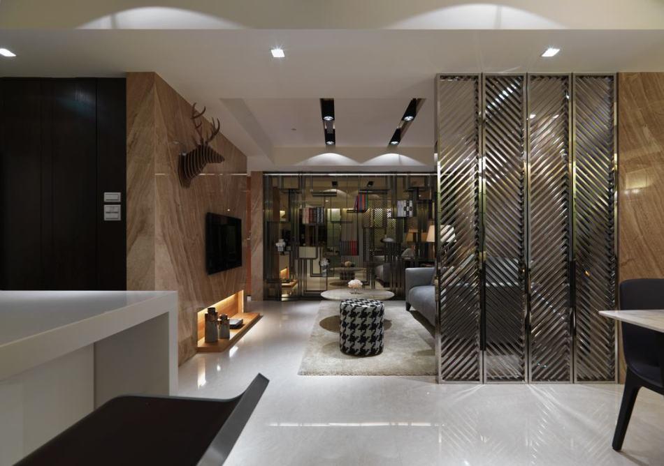 现代风格餐厅望向客厅效果图