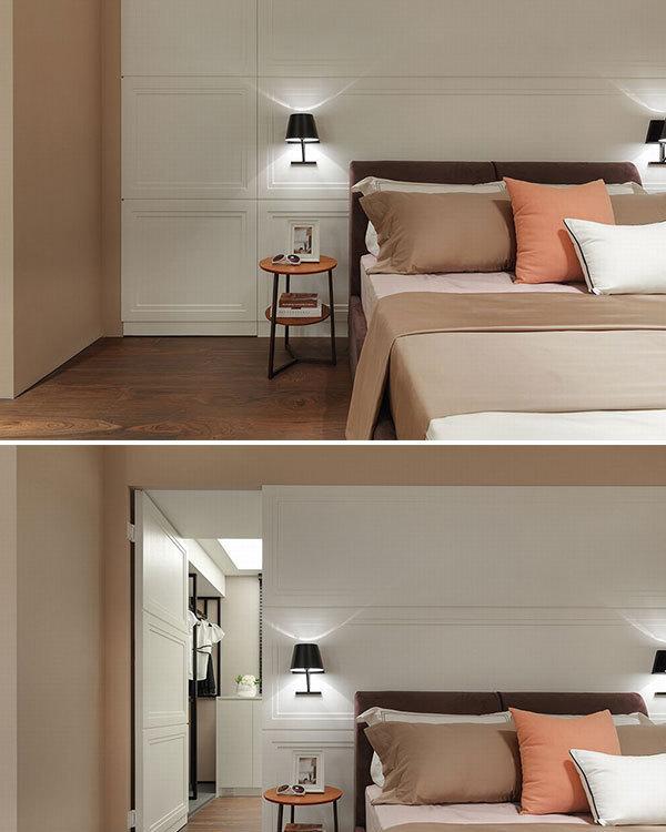 现代轻美式风格更衣室门装修图片