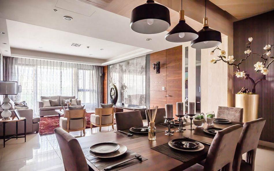 现代风格餐厅望向客厅装修案例