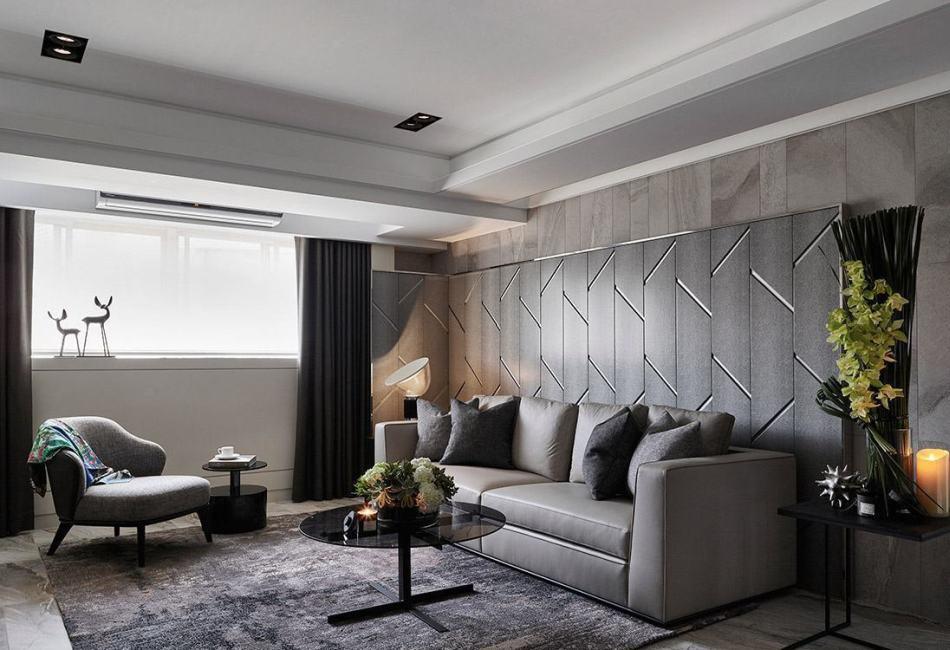 奢华风格沙发背墙效果图