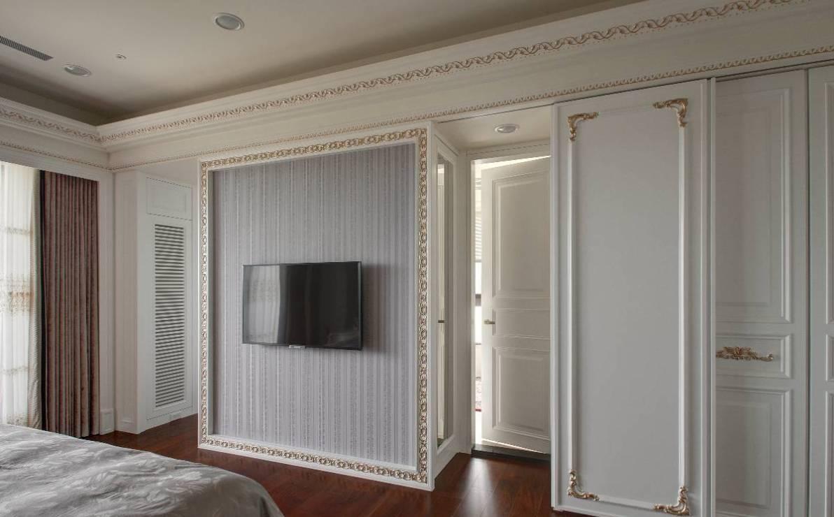 新古典电视墙立面效果图
