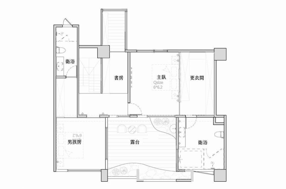 新古典2楼平面图效果图