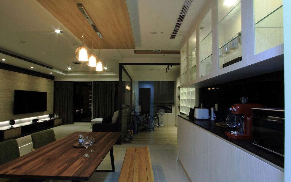 现代风格餐厅与小吧檯设计效果图