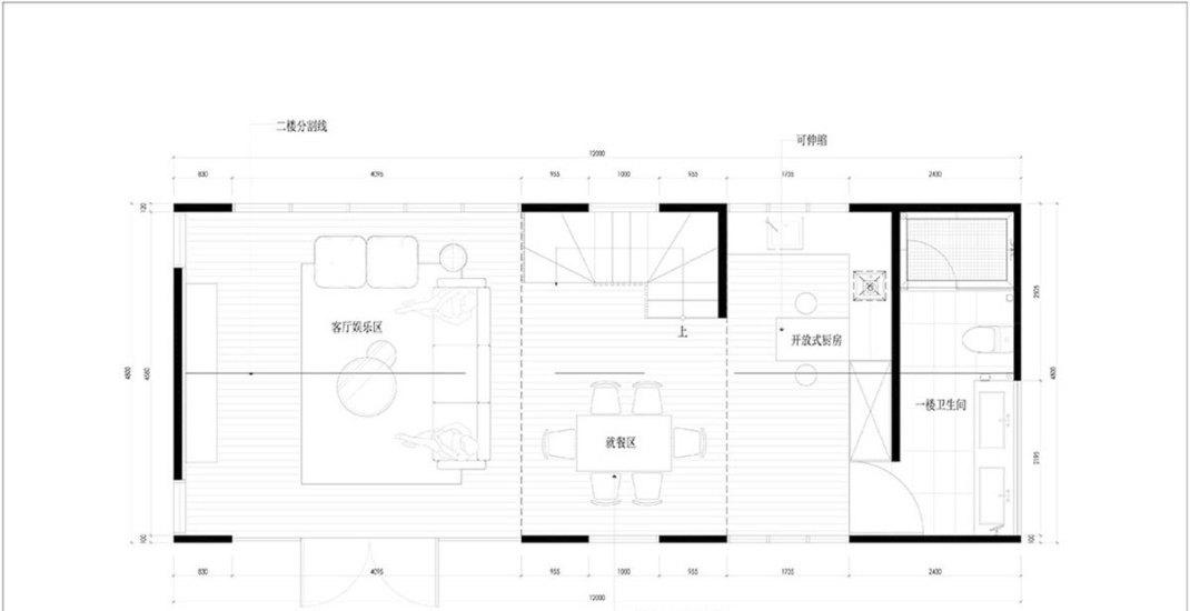 质朴自然风格二楼平面图装修效果图