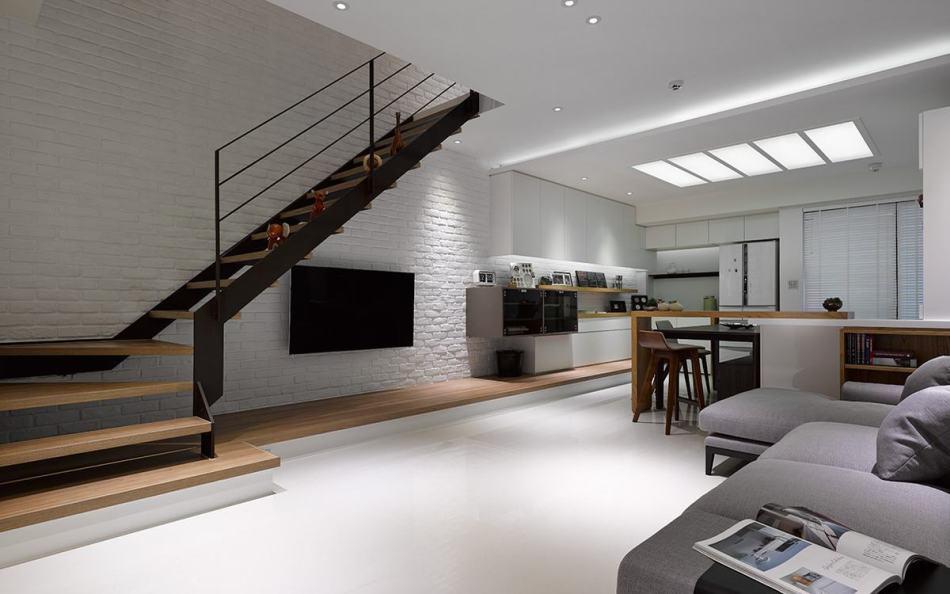 现代风格镂空梯间效果图