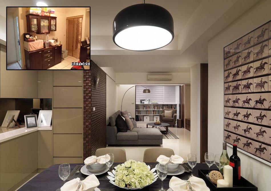现代风格由餐厅望向客厅装修图片
