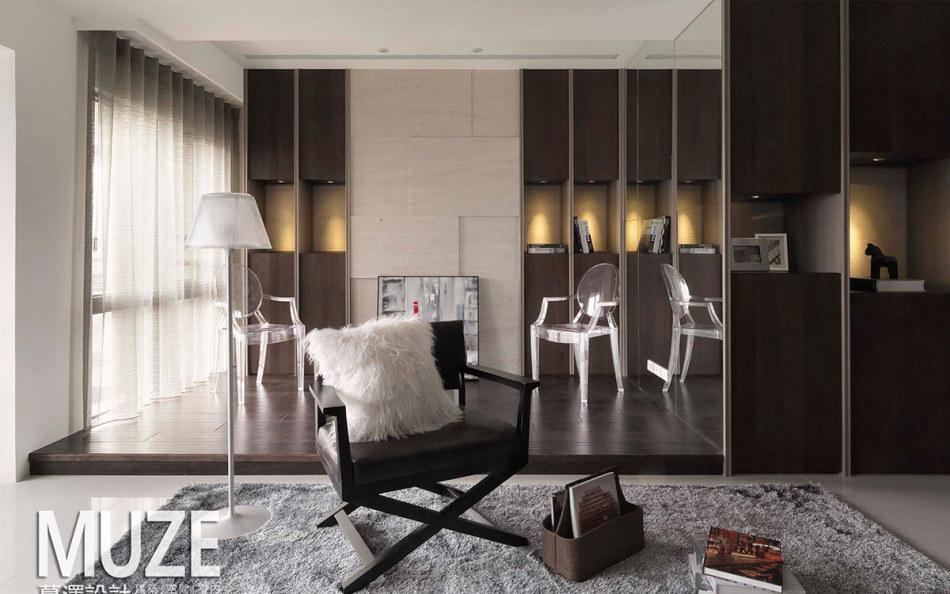 现代风格客厅与书房装修案例