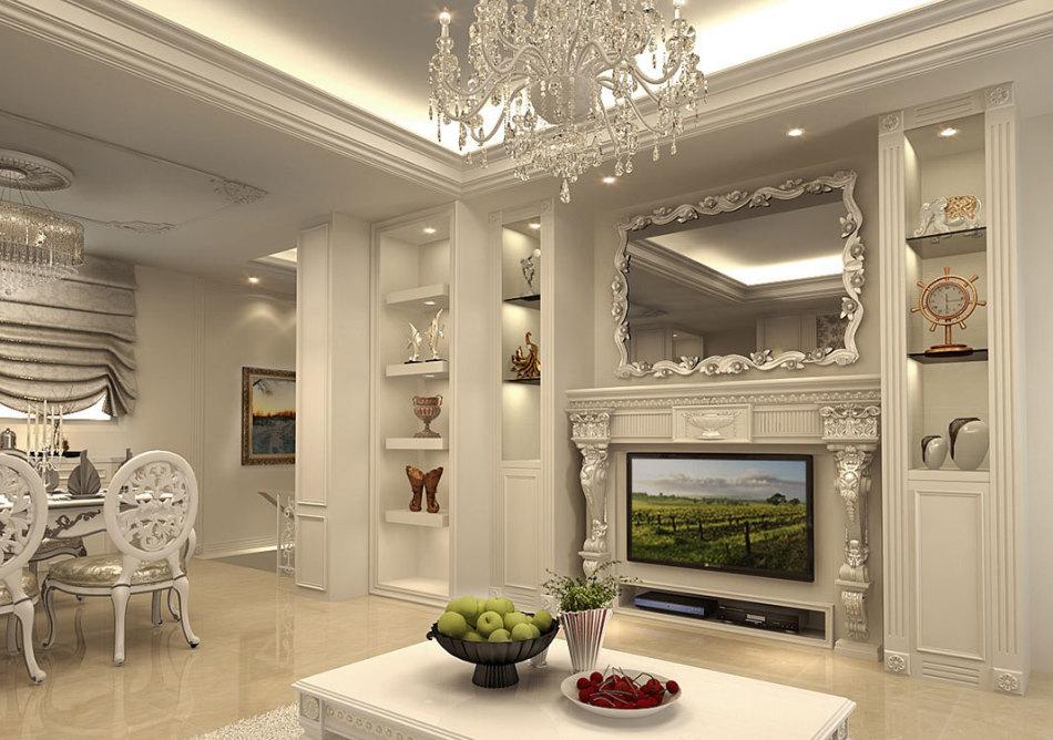 新古典电视主墙设计效果图