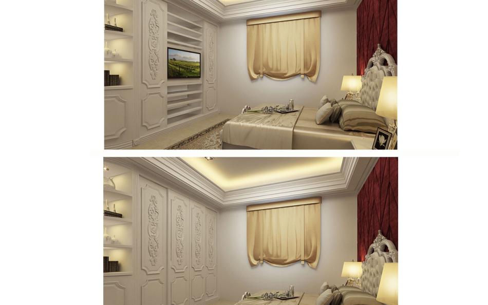 新古典主卧床尾设计效果图