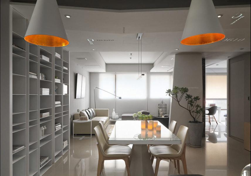 现代风格餐厅望向客厅图