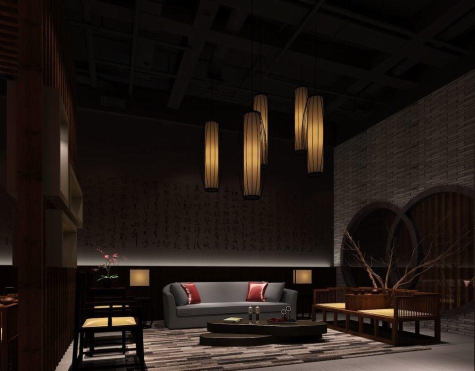 东方风格会客区设计效果图