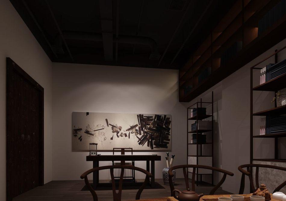 东方风格书画室设计效果图