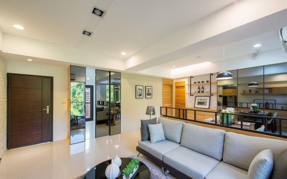 休闲多元客厅面向厨区设计图片