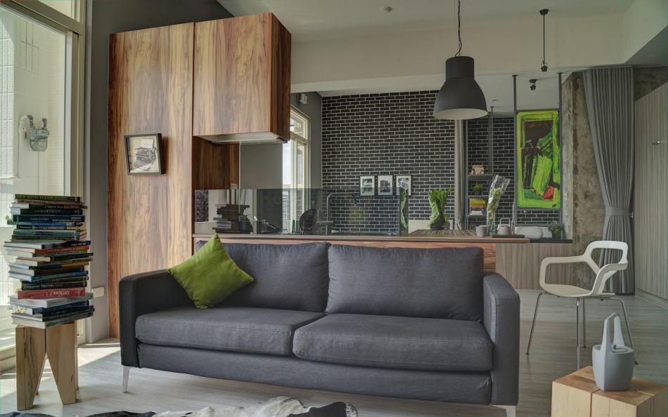 现代风格客厅与烹调区欣赏图