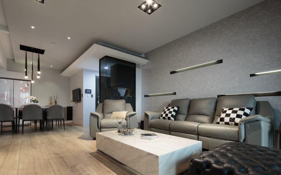 现代风格客厅背墙装修图片