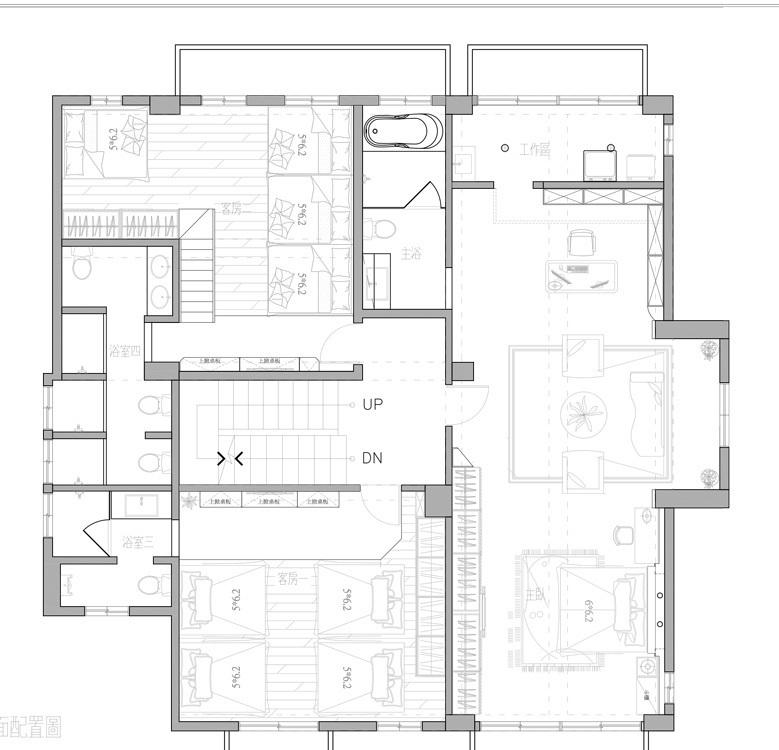 地中海风格二楼平面图装修案例