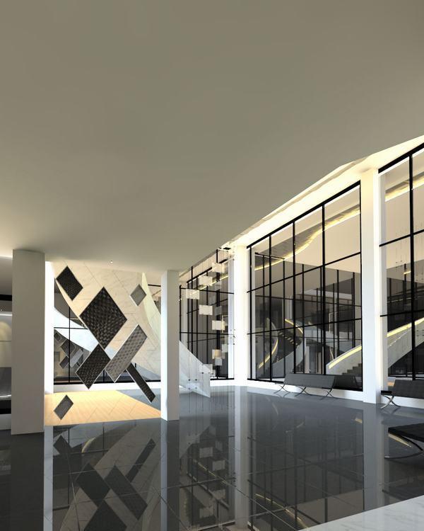 现代风格1F大厅一侧图片
