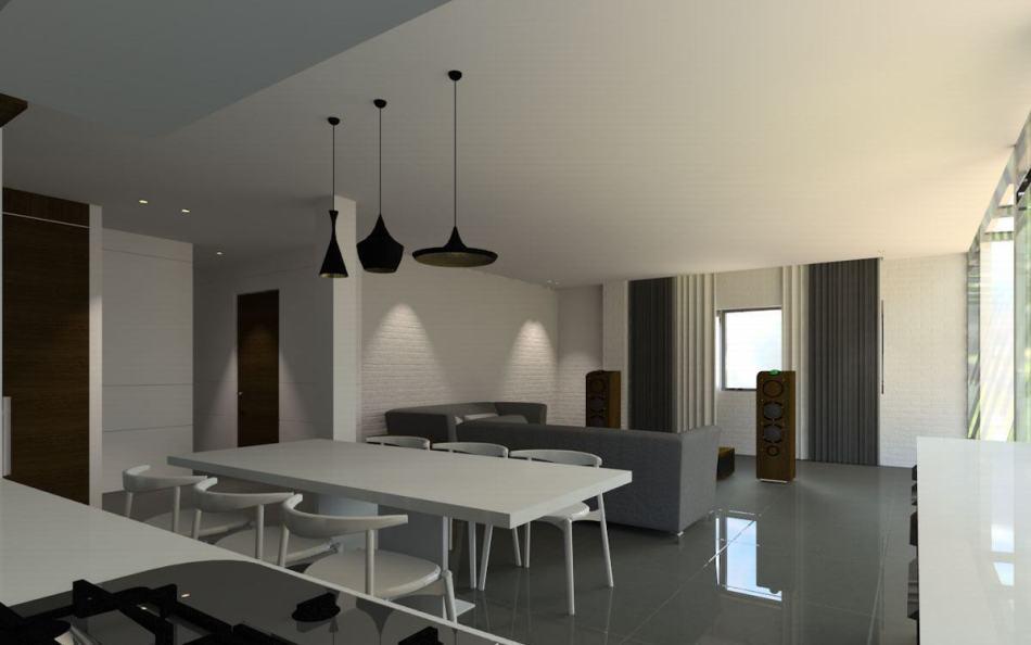 现代风格开放式餐厨空间图片