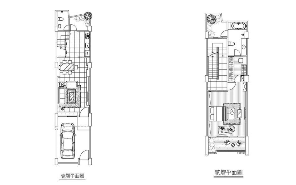 现代风格1.2F平面配置图效果图