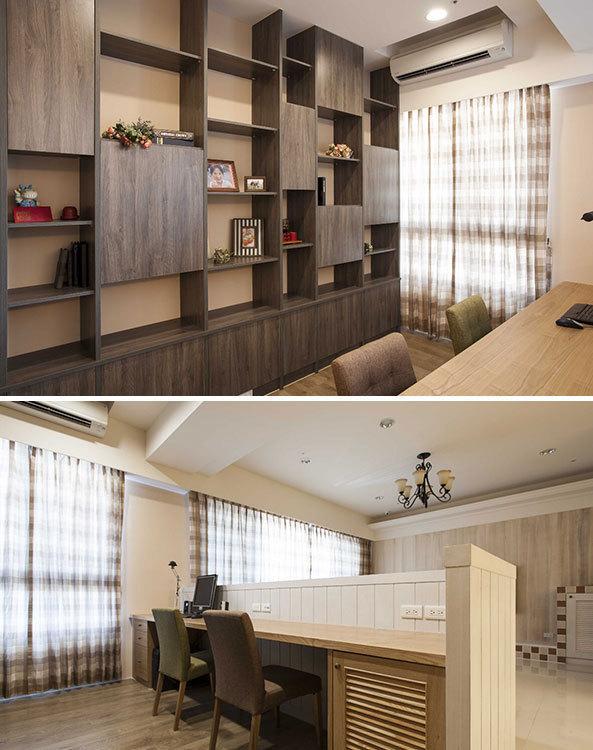 利用沙发矮墙与中岛吧台,界定书房与厨房的个别机能,并保有开放空间图片
