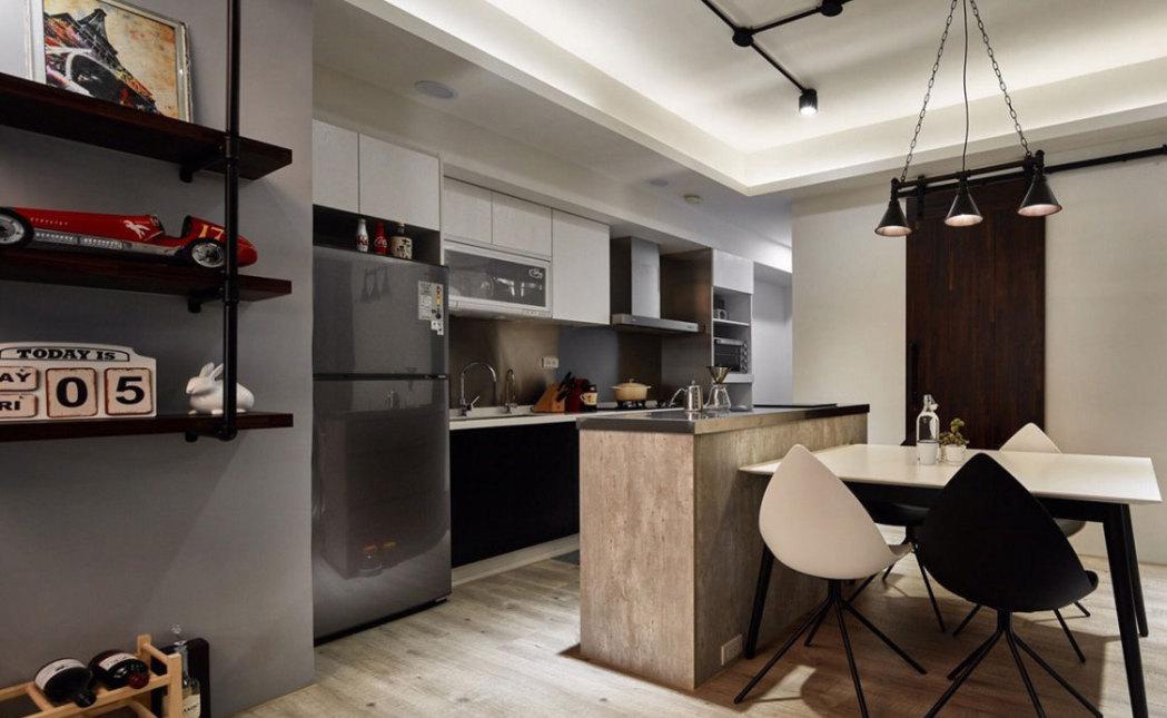 工业风格开放式厨房装修图片