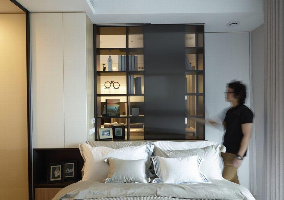 现代休闲床头背墙装修案例
