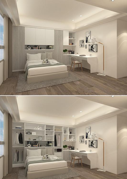现代风格床头收纳装修效果图