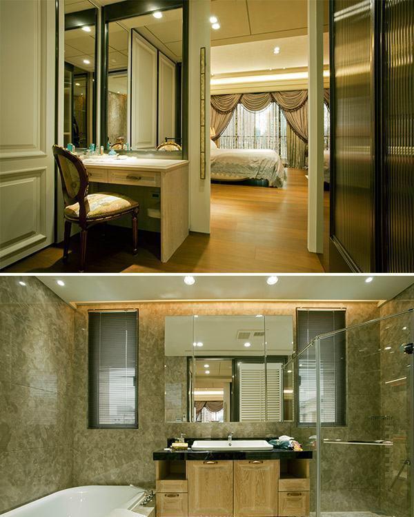 低调古典奢华主卧更衣室及卫浴图