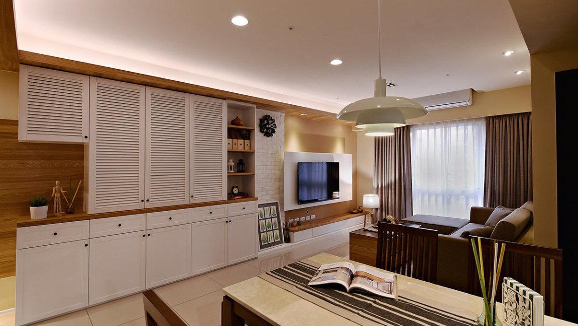 现代人文餐桌望向客厅设计效果图
