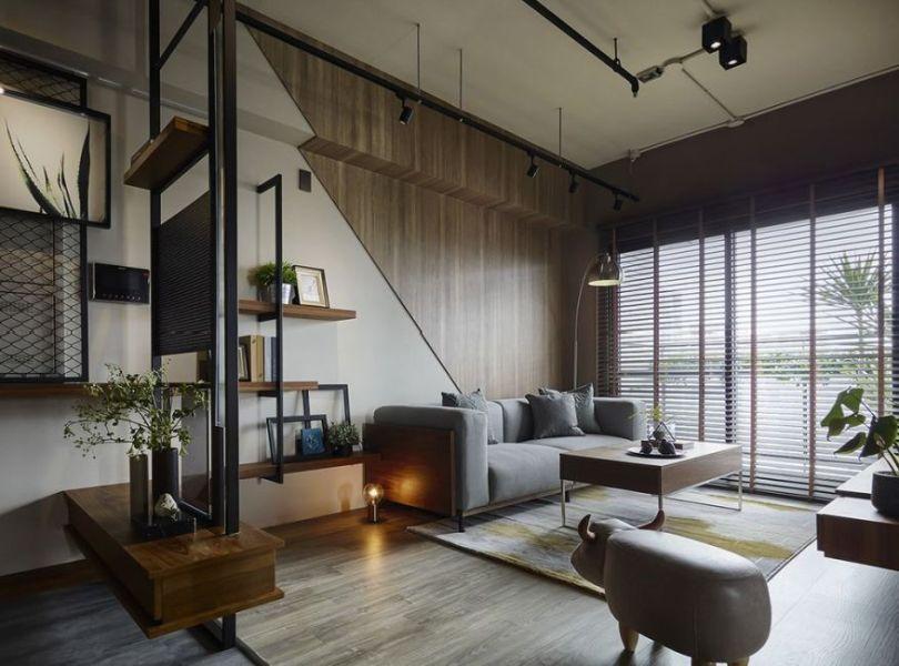 工业风格沙发背墙装修案例