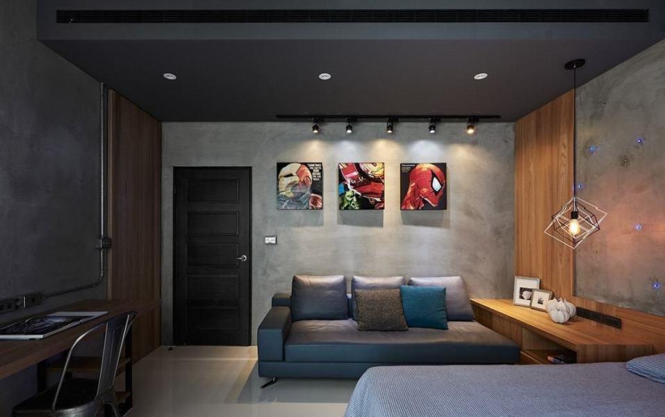 工业风格主卧室图片