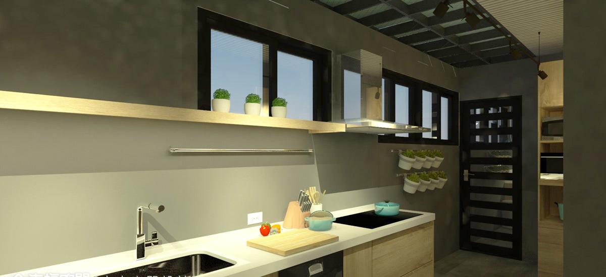 工业风格厨房规划图片