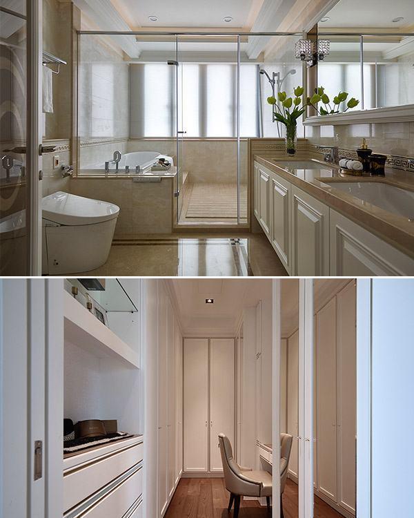 美式风格主卧卫浴&更衣室装修效果图
