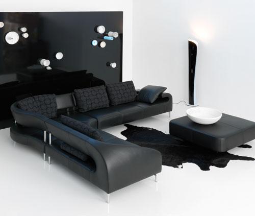 黑色转角沙发