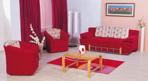 红色时尚沙发椅床组