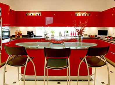 红色厨柜设计