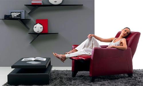 现代皮革躺椅