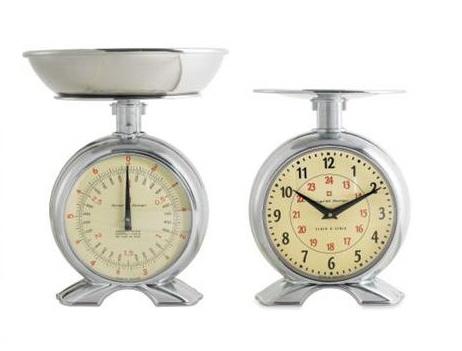 机械厨房秤带有时钟