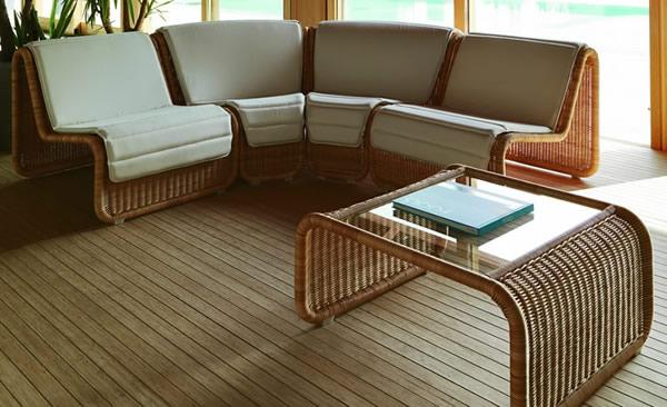 室外角落编织家具