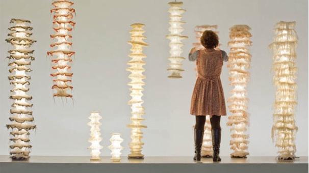 设计师雕塑的羊毛照明